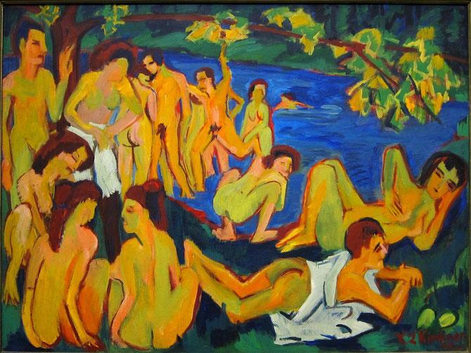 エルンスト・ルートヴィヒ・キルヒナー「モーリッツブルクの水浴者たち」(1909年)