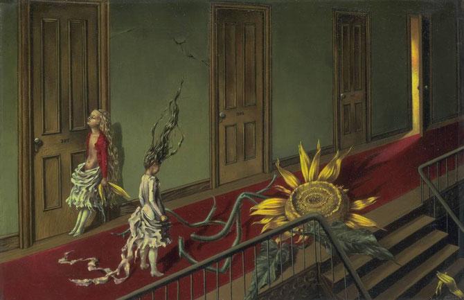 「小さな夜の曲」(1943年):タニングの代表的な作品。巨大なひまわりとレッドカーペット、先に見える扉と部屋からの光が鑑賞者の想像をかきたてる。