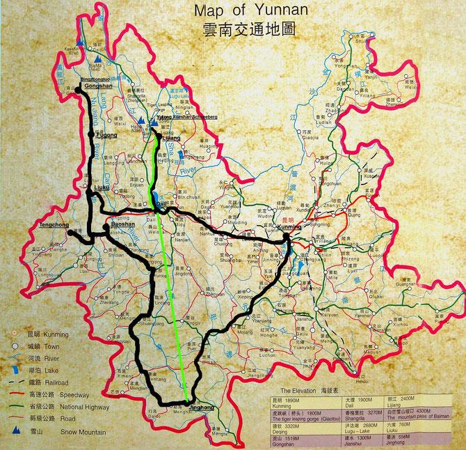 Der dicke schwarze Strich zeigt meine Tour. Der grüne Strich von Jinghong nach Dali ist der Flug.