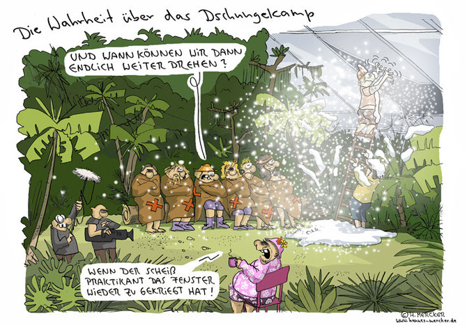 "Cartoon ""Im Dschungelcamp"""