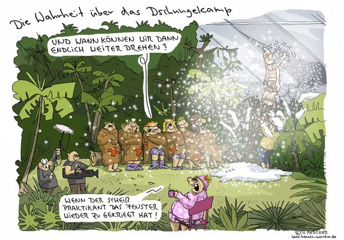 """Cartoon """"Im Dschungelcamp"""""""