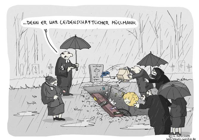 """Cartoon """"Statt Blumen"""""""