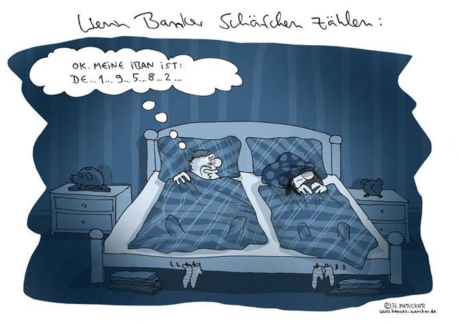 H.Mercker Cartoon über die IBAN-Umstellung