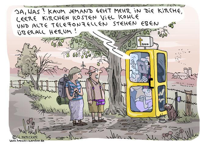 Cartoon von H. Mercker über Kirchen, Wanderer und umfunktionierte Telefonzellen.