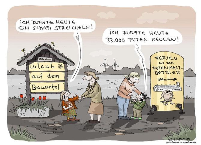 Rabenschwarzer Cartoon über Ferien auf dem Bauernhof