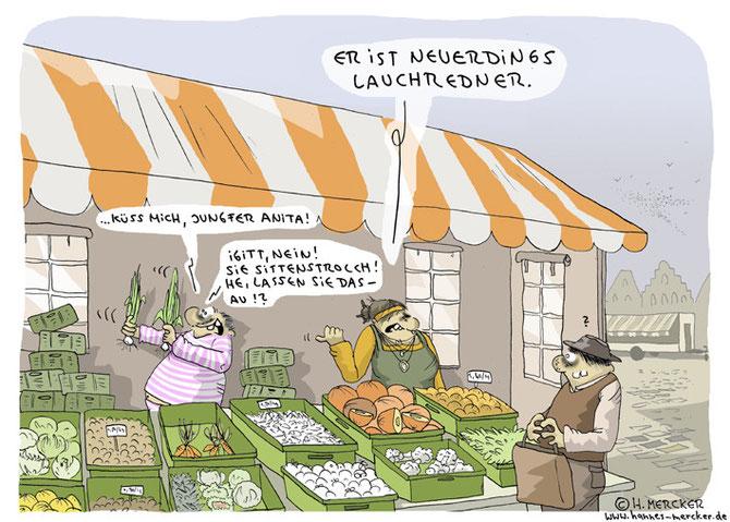 """Cartoon """"Auf dem Gemüsemarkt"""""""