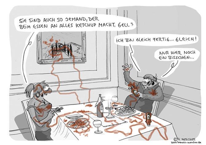 """Cartoon """"Beim Essen"""""""