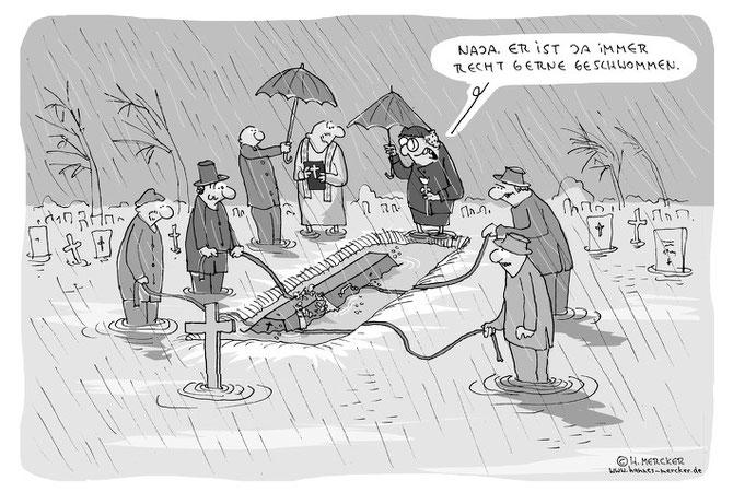 H.Mercker Cartoon zur Beerdigung eines Schwimmers bei Dauerregen