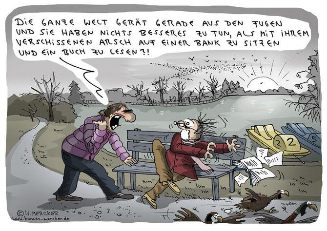 Tagesaktueller Cartoon über eine Welt voller Katastrophen und Kriege Anfang 2016