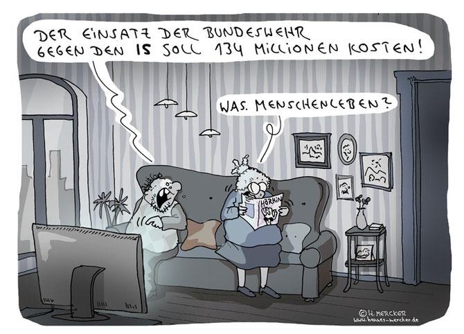Tagesaktueller Cartoon über das Engagement Deutschlands im Syrien-Konflikt 2015