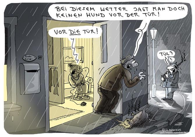 Cartoon zur Hundejagd vor der Tür