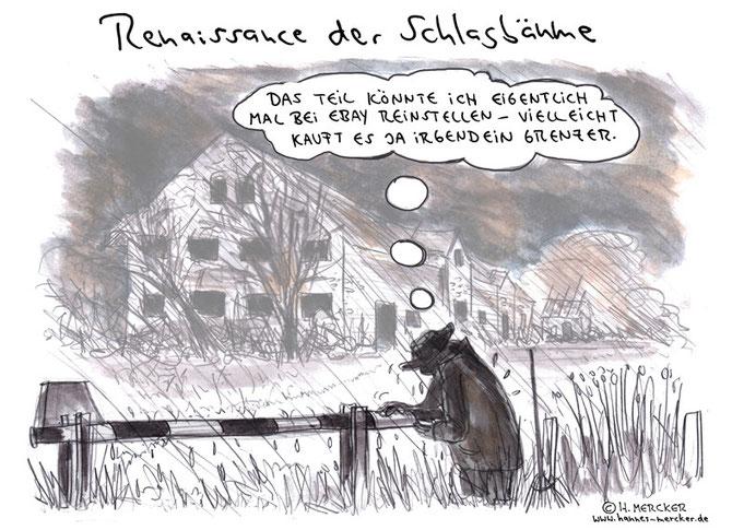 H.Mercker Cartoon über Schlagbäume und Flüchtlinge
