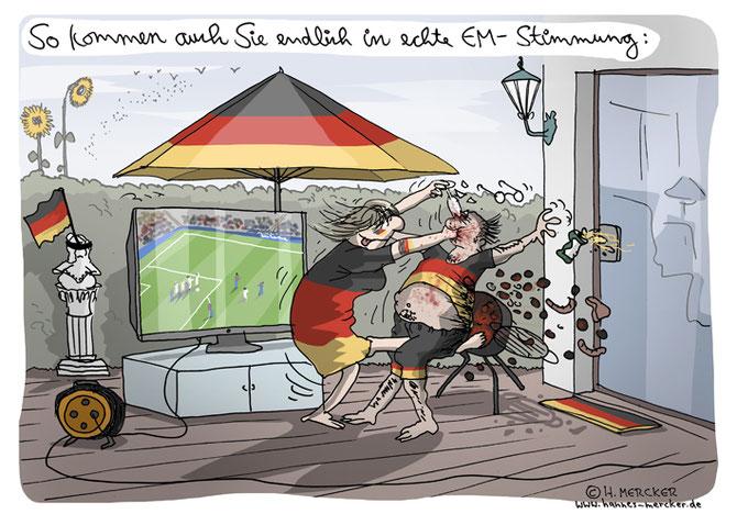 Cartoon von H. Mercker zu den Ausschreitungen von Hooligans bei der Fußball-EM 2016.