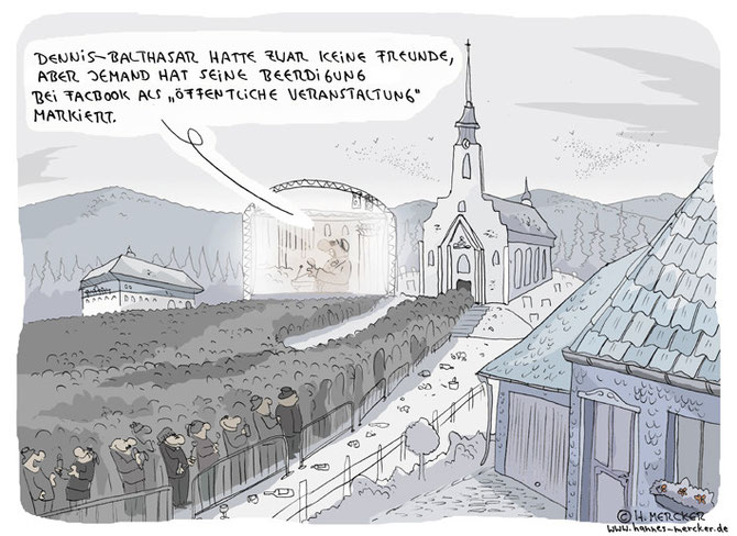 """Cartoon """"Abschied (über Probleme sozialer Netzwerke 2011)"""""""