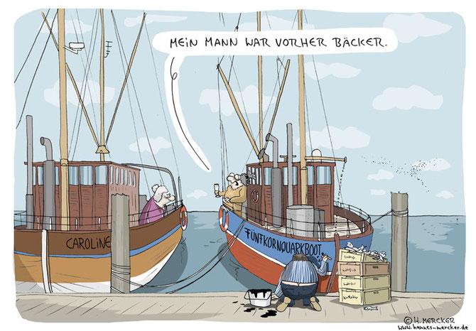 """Cartoon """"Im Hafen"""""""