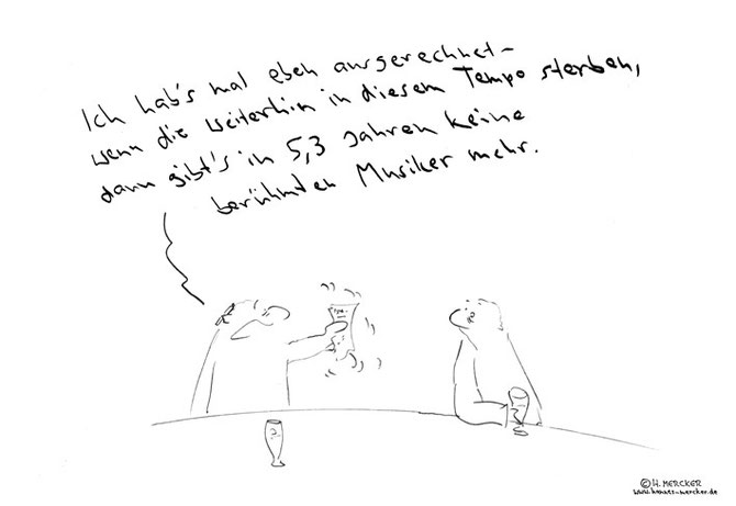 tagesaktueller Cartoon von H. Mercker zum Tod mehrerer international erfolgreicher Musiker Anfang 2016