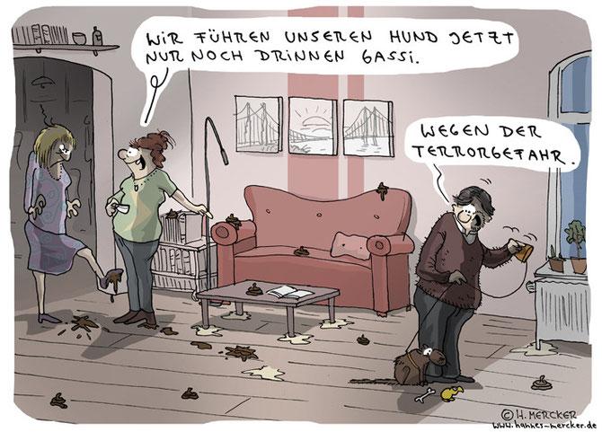 Tagesaktueller Cartoon zur Terrorgefahr in Deutschland Anfang 2016