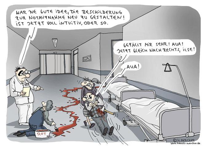 Cartoon über Neugestaltung der Notaufnahme-Beschilderung