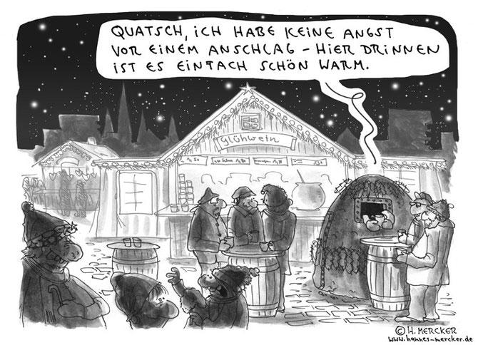 Tagesaktueller Cartoon zu der Angst vor Terroranschlägen nach Paris 2015