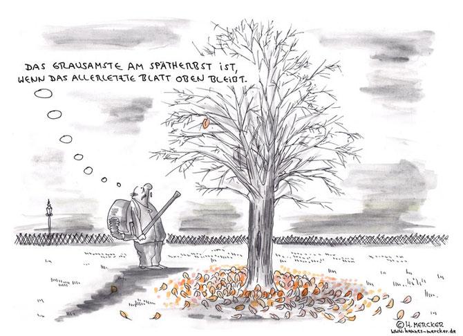 Cartoon über die Probleme eines Laubpusters im Herbst