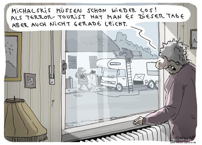 tagesaktueller Cartoon von H. Mercker zur aktuellen Terrorgefahr in Europa.