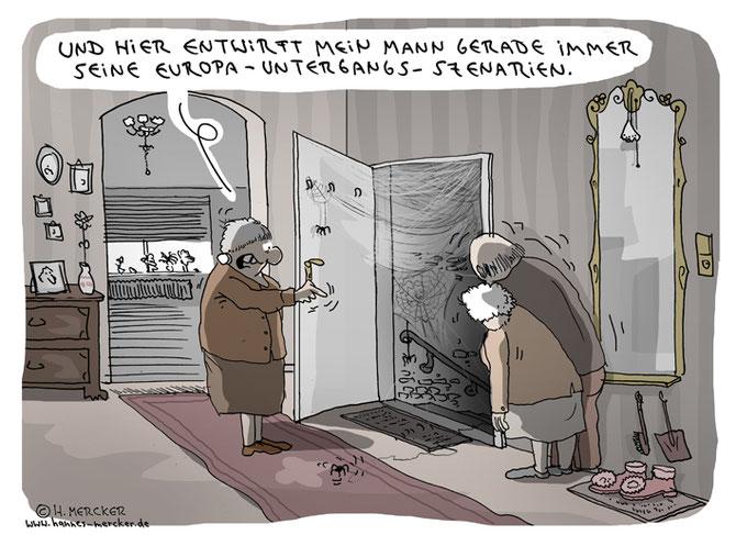 """tagesaktueller Cartoon von H. Mercker: """"Szenarien"""". Zum Brexit Großbritanniens , Juni 2016"""