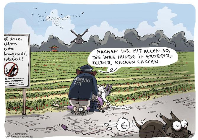 Cartoon über Hunde und Erdbeeren.