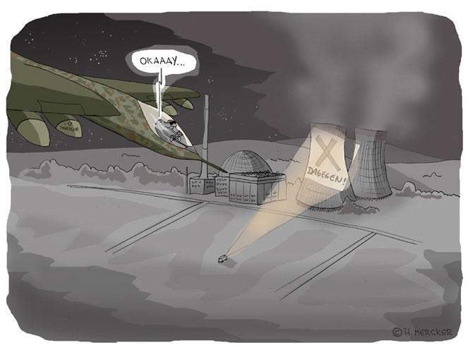 Cartoon: Flugzeug im Anflug auf ein Atomkraftwerk