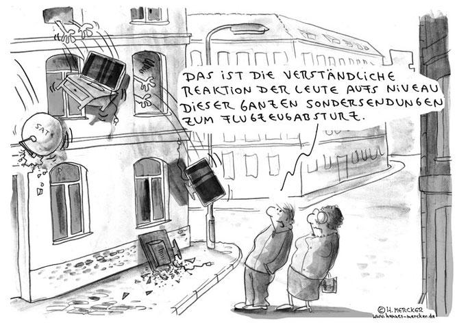Cartoon zur Berichterstattung in den Medien zum Eurowings-Absturz 2015