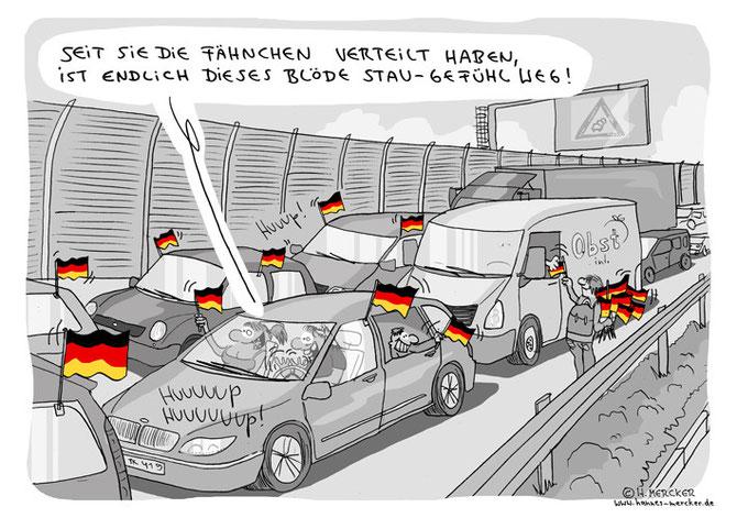 Cartoon über Autos mit Deutschlandfahnen im Autobahn-Stau