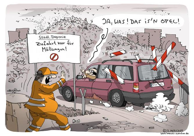 H.Mercker Cartoon über Müll und Autos