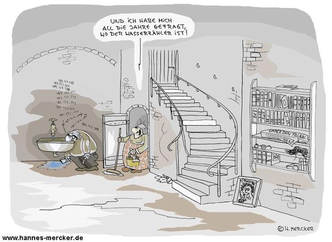 Cartoon: Der Wasserzähler im Keller