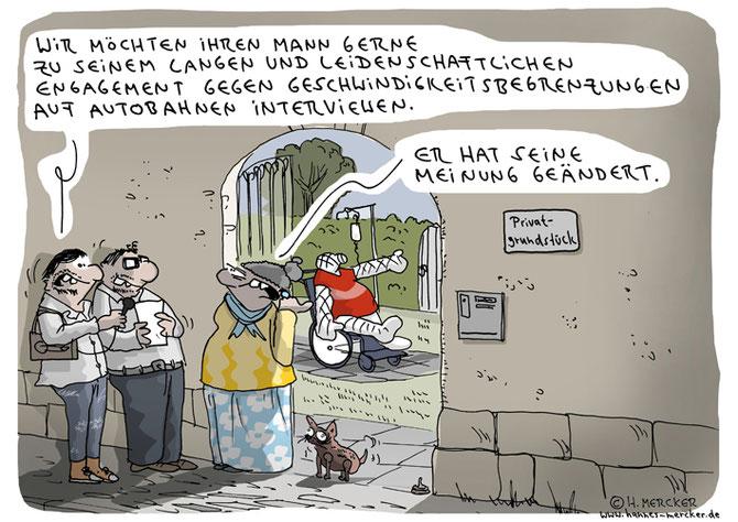 Cartoon von H. Mercker zum Thema Geschwindigkeitsbegrenzung auf Autobahnen