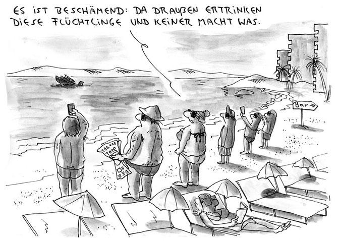 bitterböser Cartoon über Touristen und Flüchtlinge