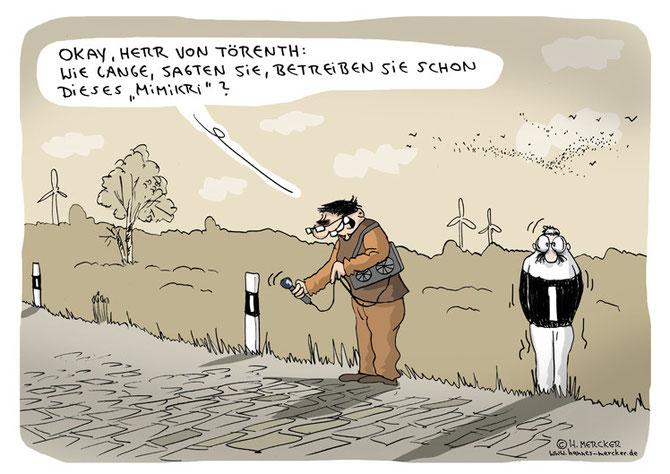 """Cartoon """"Draußen an der Straße"""""""