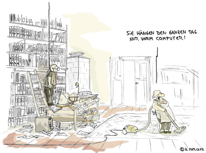 Cartoon: Hier hängt jemand den ganzen Tag vor dem Computer