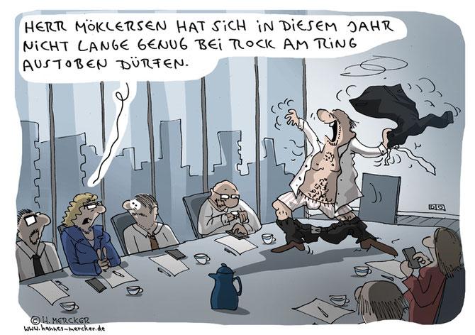 Cartoon von H. Mercker zum vorzeitigen Abbruch des Festivals Rock am Ring, Juni 2016