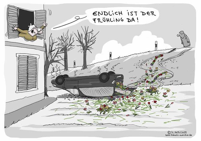 "Cartoon ""Endlich Frühling (März 2014)"""