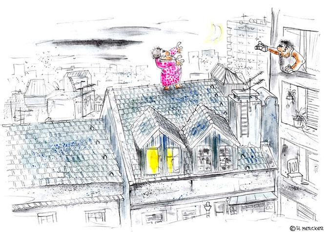 """Illustration  """"Tanz auf dem Dach"""""""