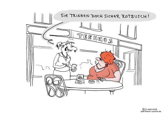 "Cartoon ""Vorm Teehaus"""