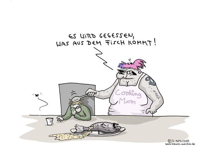 Cartoon über Schadstoffbelastung im Fisch