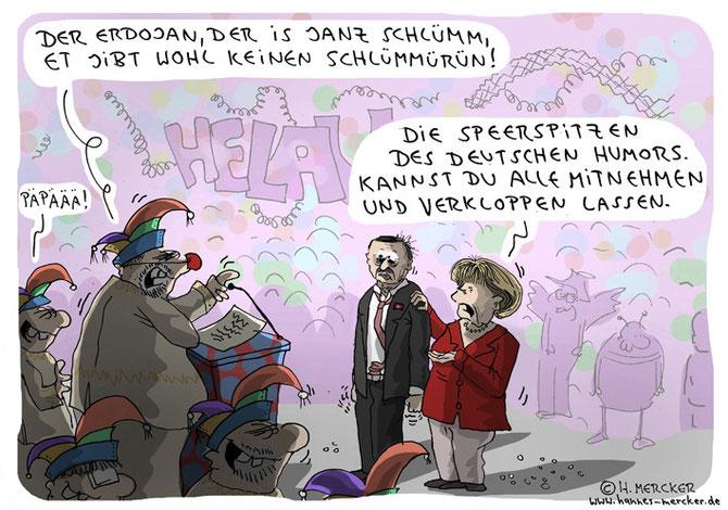 Tagesaktueller Cartoon zur Diskussion um Jan Böhmermanns Erdogan-Gedicht.