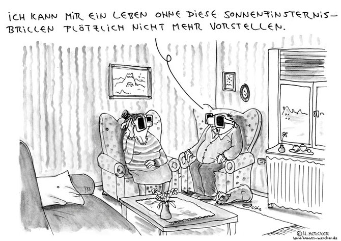 H.Mercker Cartoon über Sonnenfinsternis