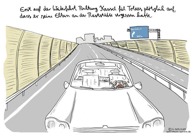 """Cartoon """"Richtung Kassel"""""""