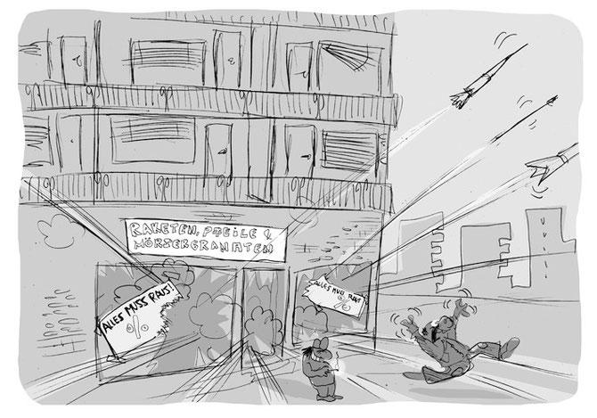 """Cartoon """"Sommerschlussverkauf"""""""