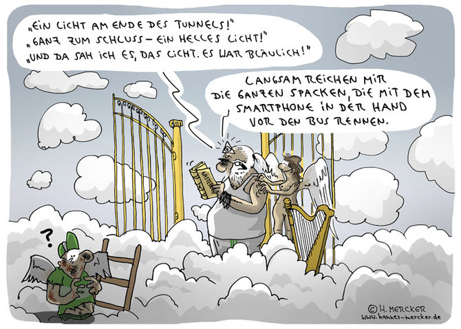 Cartoon über himmlische Probleme mit Smartphone-Benutzern