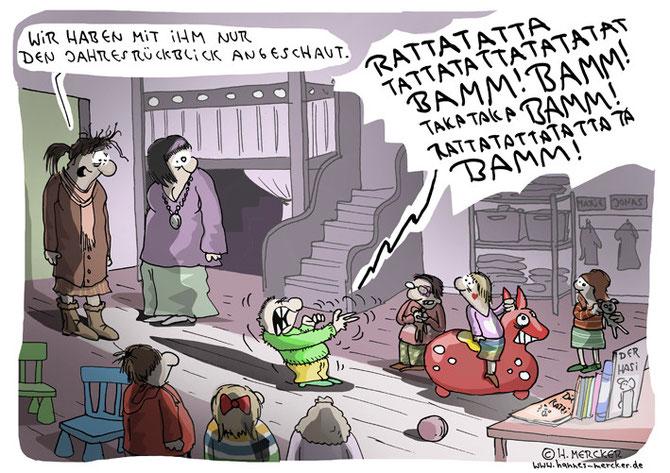 Tagesaktueller Cartoon zu einem Jahreswechsel 2015/16, der geprägt von Kriegen und Konflikten war