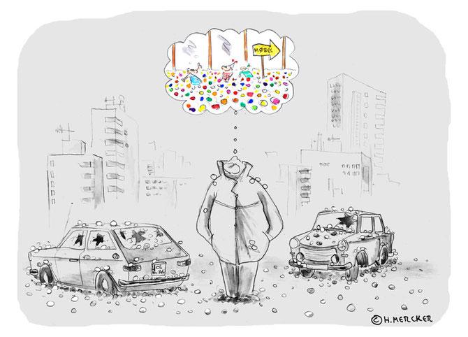 """Cartoon """"Hagelschaden"""""""