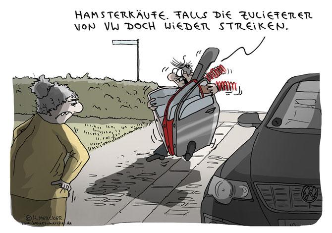 Cartoon von H. Mercker über den VW Zulieferer-Streit, August 2016.