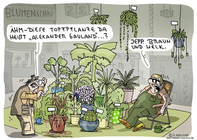 tagesaktueller Cartoon von H. Mercker zu Gauland, Blumen und Blümchen